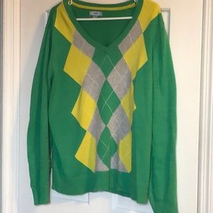 100% cotton green and yellow argyle sweater